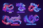 Music Neon Light Sign Of Musical Note For Sound Studio, Live Jazz Concert And Karaoke Bar Signboard  poster