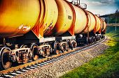 stock photo of fuel tanker  - Set of tanks with oil and fuel transport by rail - JPG