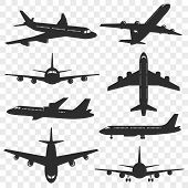 Airplanes Silhouettes Set. Plane Silhouette Isolated On Transparent Background. Passenger Aircraft I poster