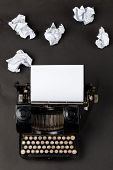 Vintage Typewriter Top Down Flatlay Shot From Above With Empty, Blank Sheet Of Paper And Crumbled Pa poster