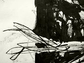 A messy grunge background hand made with black indian ink