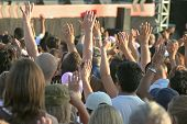 image of holy-spirit  - Christian Hands Raise High Praising Worshiping at Concert - JPG