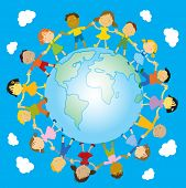 multiracial happy kids holding their hands around the globe vector illustration
