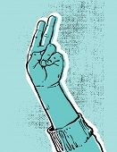 foto of peace-sign  - blue hand showing victory or peace sign grunge textured vector illustration - JPG