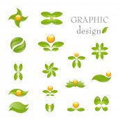 Nature- vector icon set isolated on white. Alternative medicine and ecology targeted