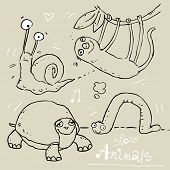 slow animals, funny vector contour drawing, kids wallpaper pattern
