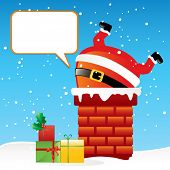 funny cartoon Santa Claus got stuck in the chimney on the roof, vector greeting card