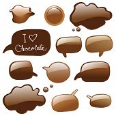 Melted chocolate in shape of chat or dialog bubbles, vector isolated
