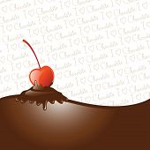 Chocolate dipped cherry, icing drips, border and