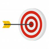 Perfection Target Icon. Flat Illustration Of Perfection Target Icon For Web poster