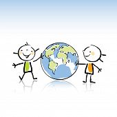 two happy kids holding the globe vector illustration,peace on earth concept in children's drawing st