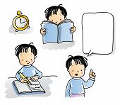 school kids series, cartoon little boy reading, writing, talking, watercolor style. grouped and laye