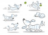 dog vector drawing set isolated on white