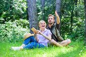 Romantic Couple Students Enjoy Leisure Looking Upwards Observing Nature Background. Couple In Love S poster