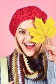 Autumn Mood. Autumn Time. Woman With Autumn Yellow Maple Leaf. Autumn Fashion. Close Up Portrait Of  poster