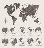 Sketches Map World Land Globe Vector Illustration poster