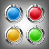 3d Color Glossy Buttons In Chrome Metal Frames, Design Elements, Set Of Icons, Isolated On Gray. Can poster