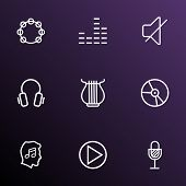 Audio Icons Line Style Set With Harp, Mute, Vinyl And Other Soundless Elements. Isolated Vector Illu poster