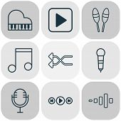 Audio Icons Set With Microphone, Music, Shuffle And Other Frequency Elements. Isolated  Illustration poster