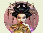 pic of asian woman  - A Portrait of a young Asian Woman with traditional Hairstyle - JPG