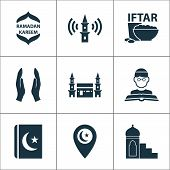 Religion Icons Set With Mimbar, Religion, Mecca And Other Hejaz Elements. Isolated  Illustration Rel poster