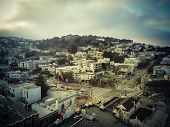 Vintage Aerial Castro District With Flying Lgbt Pride Rainbow Flag poster