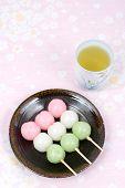 Japanese rice dough dumplings dessert