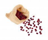 Adzuki Beans, Azuki Beans, Red Beans In Bag On White Background poster