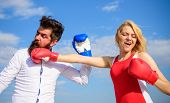 Couple In Love Fighting. Relations As Struggle Concept. Man And Woman Fight Boxing Gloves Blue Sky B poster