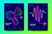 Electronic Music Party Posters. Abstract Vector Background. Colorful Wave Lines And Gradient Equaliz poster