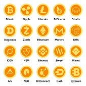 Cryptocurrency Types Icons Set. Flat Illustration Of 25 Cryptocurrency Types Icons For Web poster