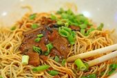 picture of egg noodles  - close up of a bowl of chinese egg noodles - JPG