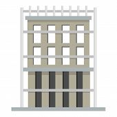 Outside House Icon. Flat Illustration Of Outside House Icon For Web poster