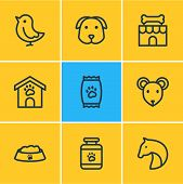 Vector Illustration Of 9 Pet Icons Line Style. Editable Set Of Pet Medicine, Dog, Pet Shop And Other poster