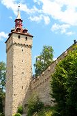 Luzern City Wall With Medieval Tower, Switzerland,
