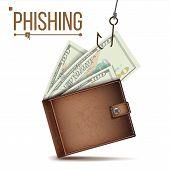 Phishing Money Concept Vector. Internet Security. Cyber Crime. Cartoon Illustration poster