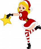 Illustration of a Pinup Girl Holding a Christmas Star