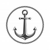 Anchor With Circular Rope Frame. Vintage Nautical Badge. Marine Emblem With Anchors And Of Ropes. Sh poster