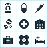 Drug Icons Set With Pill, Case, Clinic And Other Retreat Elements. Isolated  Illustration Drug Icons poster