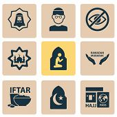 Religion Icons Set With Mullah, Hajj, Holiday And Other Arabian Elements. Isolated  Illustration Rel poster