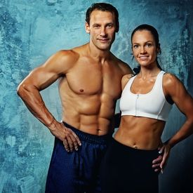 picture of fitness man body  - Beautiful athletic couple - JPG