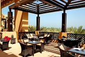 Sea View Terrace Of Outdoor Restaurant At Luxury Hotel, Ras Al Khaimah, Uae