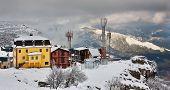 Kind on mountain-skiing base