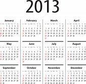 stock photo of weekdays  - Solid calendar for 2013 year - JPG