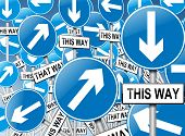 picture of mayhem  - Illustration depicting a large number of directional roadsigns in a chaotic arrangement - JPG