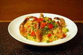 Shrimp Scampi over Pasta with Peas and Carrots