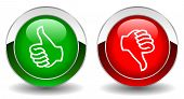 Thumbs up and down vector buttons