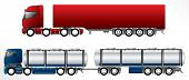 foto of 18 wheeler  - B double road trains with 4 axles on pulling truck - JPG