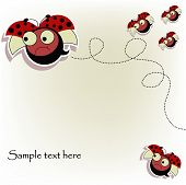 Postcard with a funny ladybugs