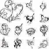 pic of broken heart flower  - Stylized heart designs - JPG